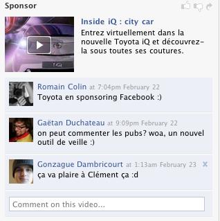 Toyota annonce sur Facebook