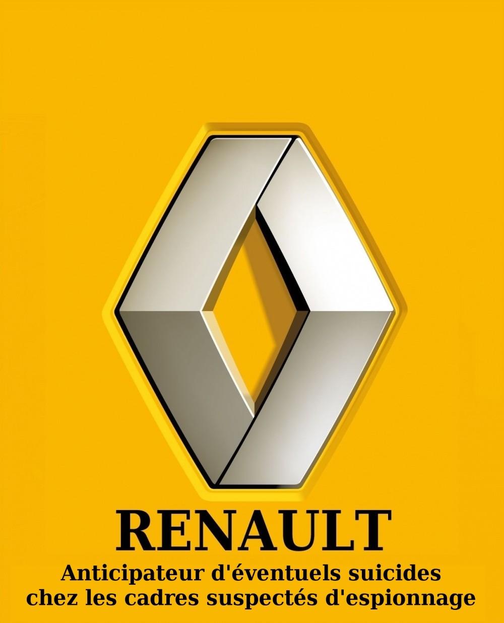 Logo-Renault-détourné -espionnage et suicide -