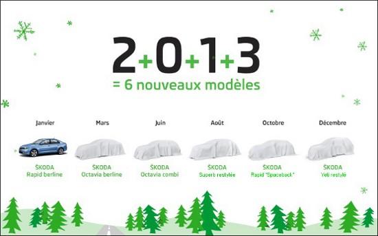 Carte de voeux lancements Skoda 2013