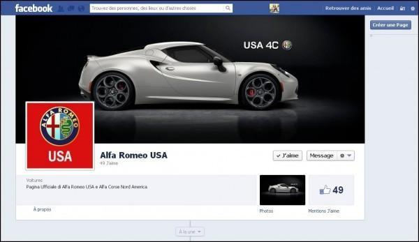 Alfa Romeo USA est sur FB