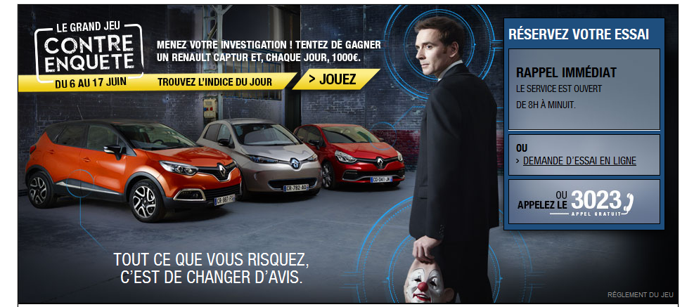 Jeu Renault contre enquête