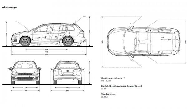VW Golf SW 2013 dimensions