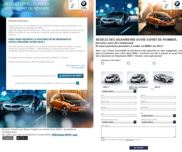 bullletin de réservation BMW i3 & i8.