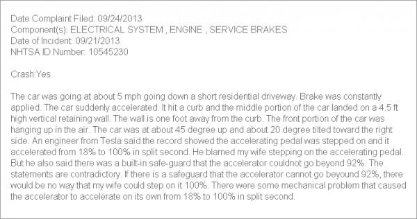 Plainte Tesla Model S pb accélération subite