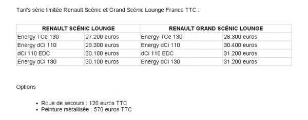 Photo Renault Scenic Lounge. Prix 600x235 Renault Scenic et Gd Scenic Lounge : The famous French Touch !