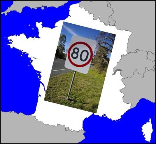 carte de France à 80km-h