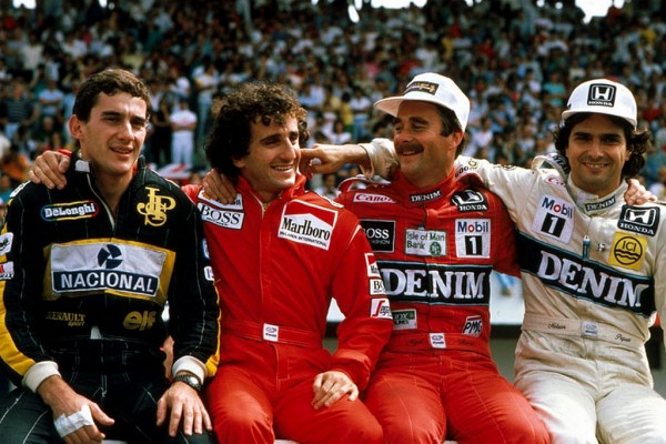 Ayrton-Senna, Alain Prost, Nigel Mansell et Nelson Piquet
