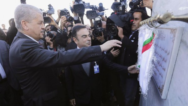 Algeria's Prime Minister Abdelmalek Sellal and Renault's Chief Executive Carlos Ghosn attend during the opening ceremony at Renault's new factory in Oran, west of Algiers