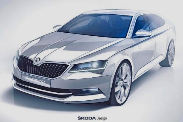 teaser sketch Skoda Superb 2015
