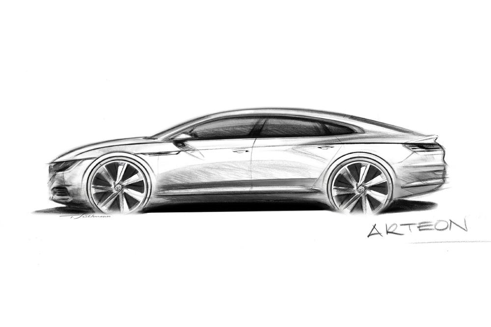 """La VW Passat CC est arrivée en bout de course et le constructeur en profite pour teaser sa remplaçante : l'Arteon. Toujours sous la forme d'un coupé 4 portes, l'Arteon gagnerait un hayon (et du coup serait une 5 portes). Quant au nom, c'est un savant mélange de """"Art"""" et de """"Phideon"""", la grande berline Volkswagen du marché chinois. On peut aussi penser à la Phaeton, mais elle a été un flop commercial, il vaut donc mieux ne pas y penser ! Présentation prévue à Genève en février 2017"""